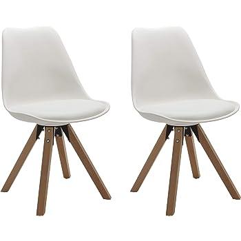 Duhome 2er Set Stuhl Esszimmerstühle Küchenstühle Farbauswahl mit Holzbeinen Sitzkissen Esszimmerstuhl Retro 518M, Farbe:Weiss, Material:Kunstleder