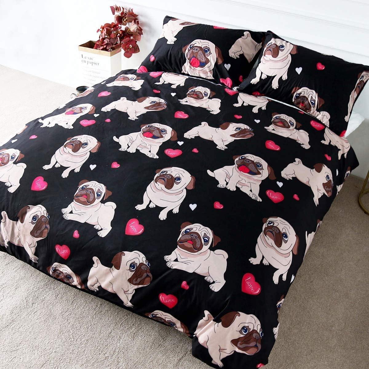 Max 56% OFF BlessLiving Cute Pug Bedding Arlington Mall Set Duvet Dog Cov Animal Hippie