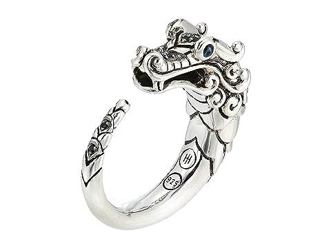 John Hardy Legends Naga Brushed Ring with Black Sapphire