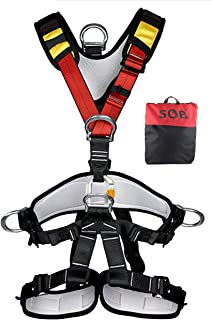 YXGOOD Climbing Harness,Full Body Safety Harness Safe Seat Belt for Outdoor Tree Climbing Harness, Mountaineering Outward Band Expanding Training Caving Rock Climbing Rappelling Equip