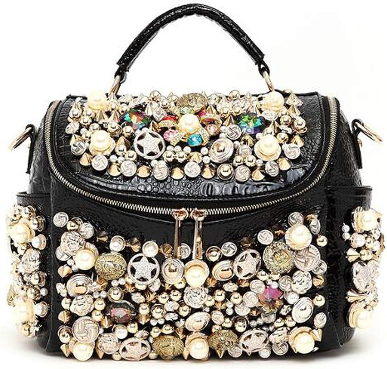 Erec bomb Pearl Buttons Women's Handbag Rhinestone Crocodile Pattern Luxury Rivet one Shoulder Cross-Body Messenger Bag R90