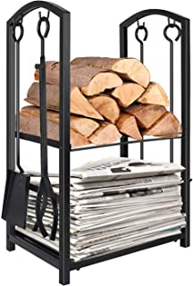 WBHome Firewood Rack with 4 Tools - Iron Fire Log Holder Storage Set Includes Brush, Shovel, Poker, and Tongs, 17 x 29 x 12 inches, for Indoor/Outdoor