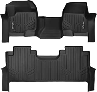 MAXLINER Floor Mats 2 Row Liner Set Black for 2017-2018 Ford F-250/F-350 Super Duty Crew Cab with 1st Row Bench Seat
