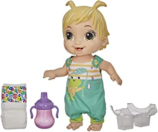 Baby Alive Baby Gotta Bounce Doll, Frog Outfit, Bounces with 25+ SFX and Giggles, Drinks and Wets, Blonde Hair Toy for Kid...