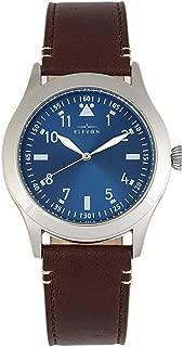 Hanson Men's Quartz Brown Genuine Leather Silver Watch ELE117