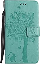 ISAKEN Funda para Samsung Galaxy J7 2016, Cartera Fundas de PU Cuero Leather Wallet Case Cover Carcasa Funda con Portátil Correa función de Soporte para Samsung Galaxy J7 2016 (Gato Árbol Verde)