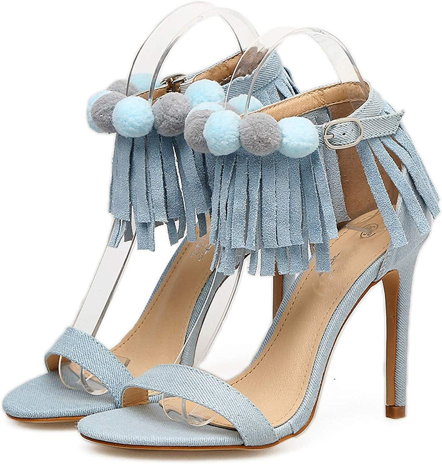Pretty-Shop sandals Spring and Summer Denim Tassel Hair Ball Ring Foot Strap High Heel,