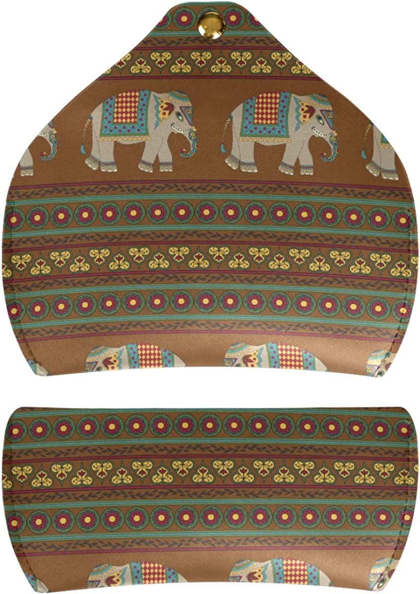 PU Leather Sunglasses Case Eyeglasses Pouch Art Ethnic Animal Elephant Tribal Stripe Portable Goggles Bag Storage Multiuse