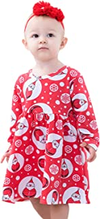 Newborn Infant Baby Girl Christmas Car Print Christmas Costume Long Sleeve Tutu Dress Outfits Clothing Set