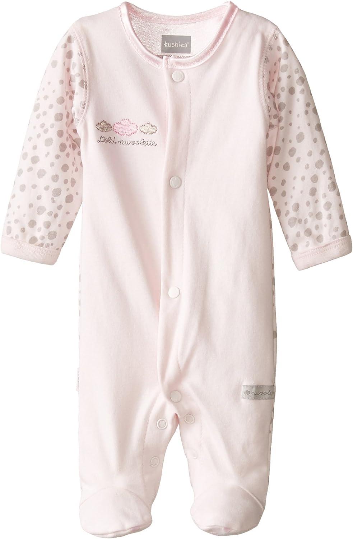 Kushies Baby Girls' Newborn Front Snap Sleeper Pink Solid