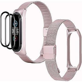 IMBZBK [3 Prodotti] 1 Oro Rosa Cinturino per Xiaomi Mi Band 5 + 2 Pack TPU Pellicola Protettiva per Xiaomi Mi Band 5, Cinturino in Metallo di Ricambio da Polso Cinturino Regolabile