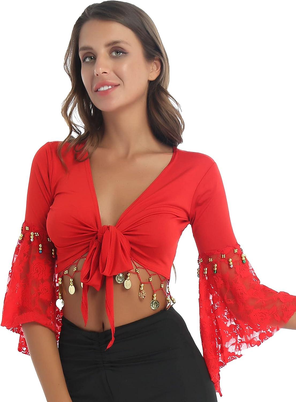 FEESHOW Women's Flare Sleeve Tassel Lace-Up Shawl Crop Tops Belly Dance Gypsy Bolero Shrug Cardigan