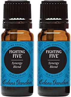 Edens Garden Fighting Five Essential Oil Synergy Blend, 100% Pure Therapeutic Grade (Highest Quality Aromatherapy Oils- Cold Flu & Detox), 10 ml Value Pack