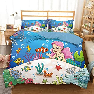 HoYoo 3D Cute Panda Giraffe Mermaid Printed Bedding Set Twin Full Queen King Sizes Bed Linens Set Duvet/Quilt Cover Set 3 Pieces Bedclothes with Pillowcase (#1,UK King / 230220cm)