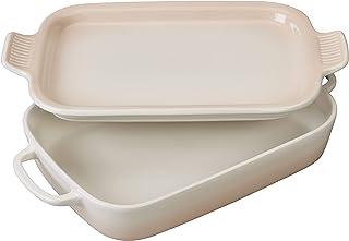 "Le Creuset Stoneware Rectangular Dish with Platter Lid, 14 3/4""x9""x2 1/2"" (2.75 qt.), Meringue"