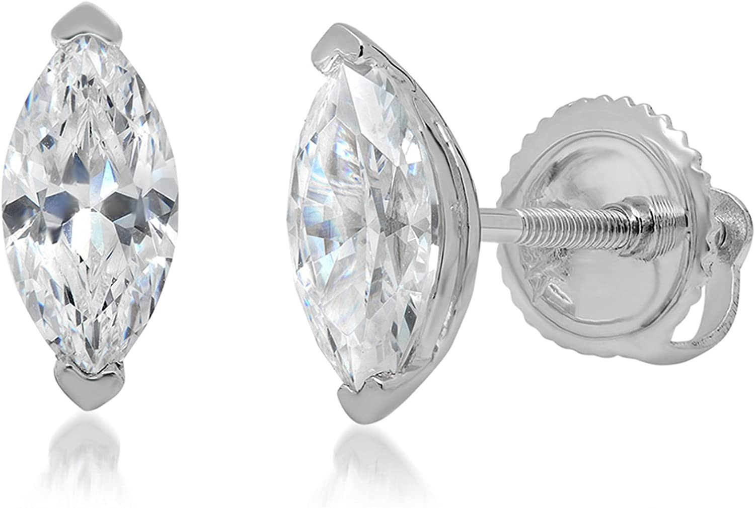1.0 ct Marquise Cut ideal VVS1 Conflict Free Gemstone Solitaire Genuine Moissanite Designer Stud Earrings Solid 14k White Gold Screw Back