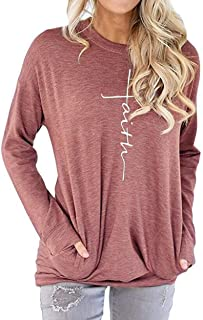AELSON Women's Casual Round Neck Sweatshirt T-Shirts Tops Blouse with Pocket
