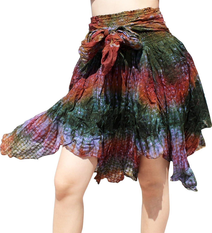 RaanPahMuang Full Gypsy Dancing Short Skirt Tiedyed Circle Embossed Cotton
