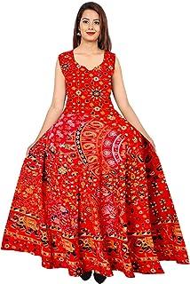 a2a6bb5a16 Silver Organisation Women's Jaipuri Printed Cotton Long Maxi Dress  (FR_04194, Multicolour, Free Size