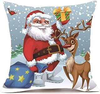 Reooly Black Five Merry Christmas Funda de Almohada Super Cashmere Funda de cojín para sofá decoración del hogar 45cm * 45cm