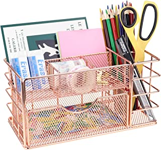 LEORISO Mesh Desk Organizer, Rose Gold Makeup Organizer with Drawer, Metal Office Supplies Desktop Organizer, Multifunctio...