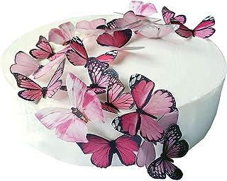 24 x Vorgeschnittene schöne rosa Schmetterlinge essbares Reispapier/Oblatenpapier Kuchendekoration, Dekoration für Cupcake Kuchen Dessert, für Geburtstag Party Hochzeit Babyparty M