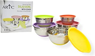 ARTC® Mixing Bowls with Lids, Stainless Steel Serving Storage Bowls Set of 5 with Measurement and The Bottom of the Silico...