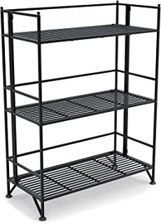Convenience Concepts Designs2Go X-Tra Storage 3-Tier Wide Folding Metal Shelf, Black