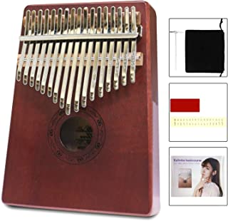 Hellopet Kalimba 17 Keys C Tone Basis Thumb Piano Mahogany Body Material Ore metal Tines with Tuning Hammer Gift for Children Friends and Family (Box style, Red)