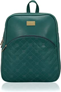 Kleio Medium Size PU Leather Quilted Backpack For College Women Girls Ladies