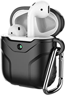 JETech Case for AirPods (1st & 2nd Generation), Portable Silicone Protective Cover (Front LED Visible) with Carabiner, Black