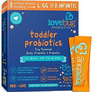 Lovebug Probiotic and Prebiotic for Kids, 15 Billion CFU, for Children 12 Months to 4 Years, Best Children's Probiotics, Contains 1 Gram Fiber, 30 Packets
