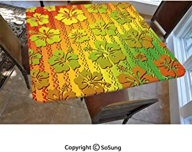 Rasta Polyester Fitted Tablecloth,Hibiscus Exotic Jamaican Island Flower with Zig Zag Lines Print Square Elastic Edge Fitted Table Cover,Fits Square Tables 48x48 Light Green Red and Marigold