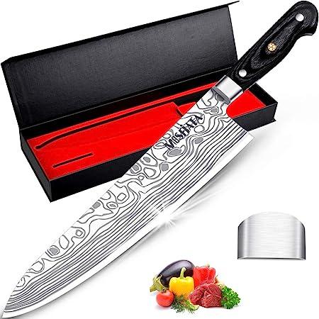 """MOSFiATA 10 """"couteau de chef couteau de cuisine à haute teneur en carbone EN1.4116 couteau en acier inoxydable couteau pleine soie avec protège-doigts couteau de cuisine boîte cadeau élégante"""