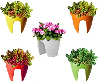 MB Traders Railing Pots and Planter, Flower Pots (12 Inch, Multicolor, Set of 5)