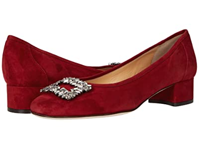 Sesto Meucci Lala (Dark Red Suede/Clear Stones Ornament) Women