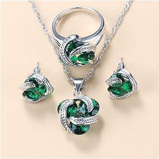 أطقم مجوهرات نسائية أزياء الزفاف مجوهرات هدايا للنساء هدايا الذكرى السنوية لها (اللون: أخضر، 3 قطع، الحجم: 10)
