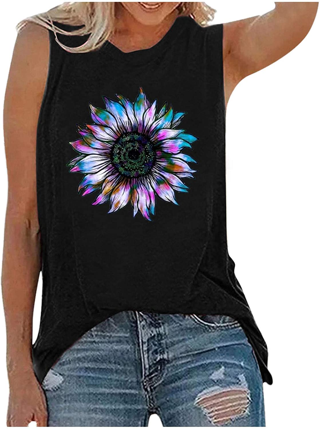 nunonette Tank Tops Sales of SALE items from Large special price !! new works for Women Sunflower Sleeveless Workout Print