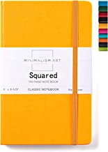 Minimalism Art, Classic Notebook Journal, A5 Size 5 X 8.3 inches, Yellow, Squared Grid Page, 192 Pages, Hard Cover, Fine PU Leather, Inner Pocket, Quality Paper-100gsm, Designed in San Francisco
