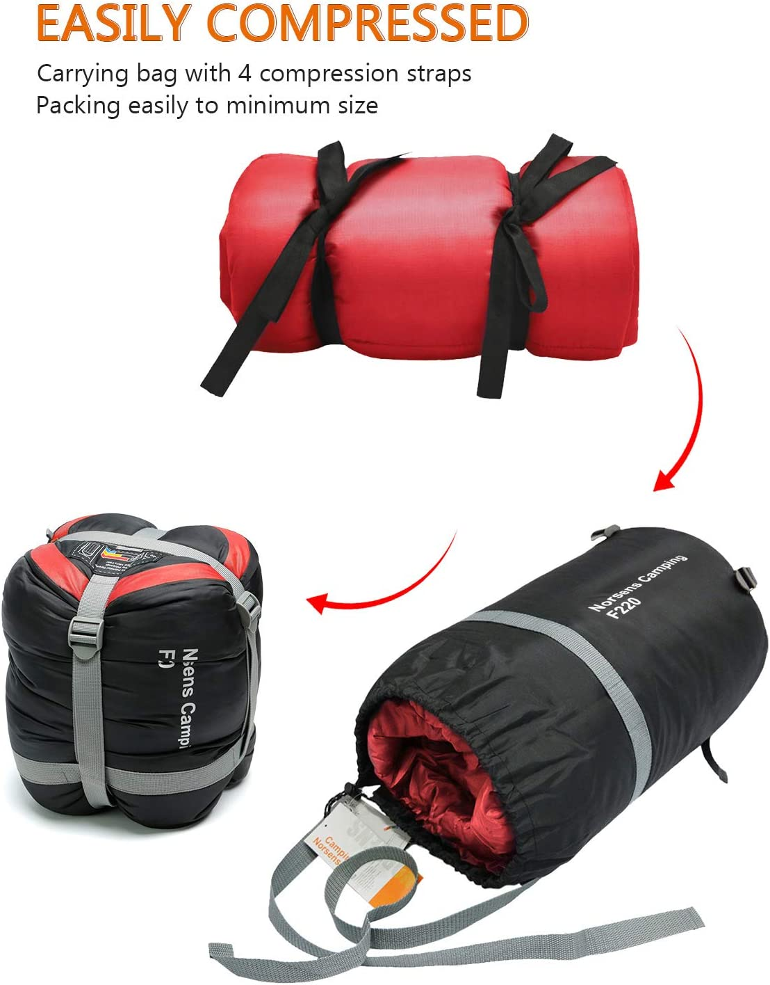 3 Season Warm /& Cold Weather Sleeping Bags for Hiking,Backpacking NORSENS Camping Sleeping Bags Lightweight Compact Sleeping Bag for Adults Kids