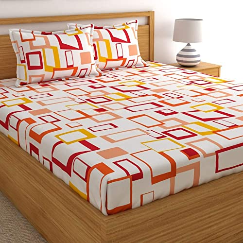 Home Ecstasy 100 Cotton Double bedsheets with 2 Pillow Covers Cotton 140tc Geometric Multicolour bedsheets for Double Bed Cotton 7 3ft x 7 7ft