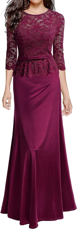 Miusol Women's Retro Floral Lace 2/3 Sleeve Slim Peplum Wedding Maxi Dress