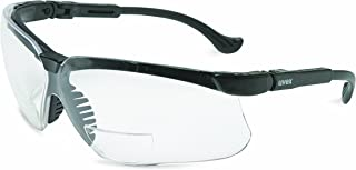 Uvex S3762 Genesis Reading Magnifiers Safety Eyewear +2.0, Black Frame, Clear Ultra-Dura Hardcoat Lens