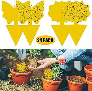 24 Pack dubbelzijdige gele vangplaten Gnat Trap PVC Waterdicht for Insect tegen varenrouwmug, wittevlieg, bladluizen, Mine...