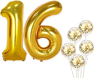 Number 16 and Gold Confetti Balloons - Large, 40 Inch Foiil Gold Balloons | 5 Gold Confetti Balloons, 12 Inch | 16th Birthday Party Decorations | Party Supplies for Anniversary Décor
