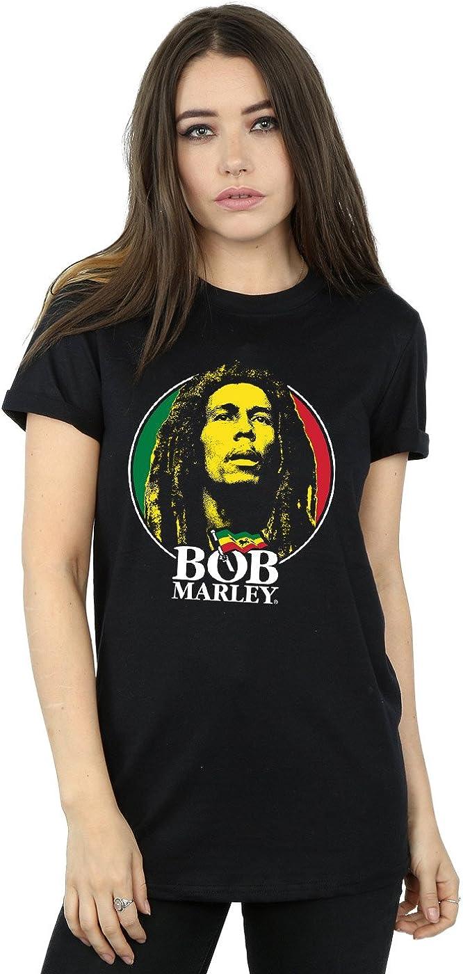 Bob Marley Mujer Logo Badge Camiseta del Novio Fit