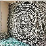 RAILONCH Tapisserie Bohême Mandala Tapisserie Tenture Murale pour La Décoration Murale Hippie Tapisserie Tapis De Plage Tapis Rond De Yoga (Noir,150 * 150)