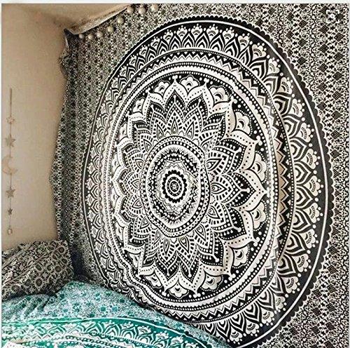 RAILONCH Multicolored Indischer Wandteppich Wandbehang Mandala Tuch Wandtuch Gobelin Tapestry Goa Indien Hippie-/ Boho Stil als Dekotuch/Tagesdecke (Schwarz, 210 * 150)