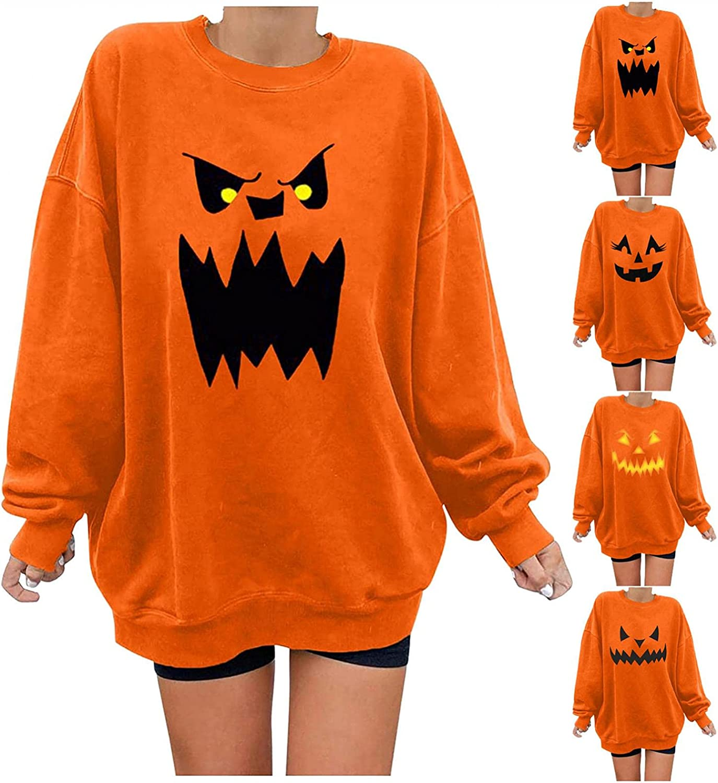 Women Las Vegas Mall Halloween Shirt Long Sleeve Skeleton Printed Special sale item Pumpkin Casua