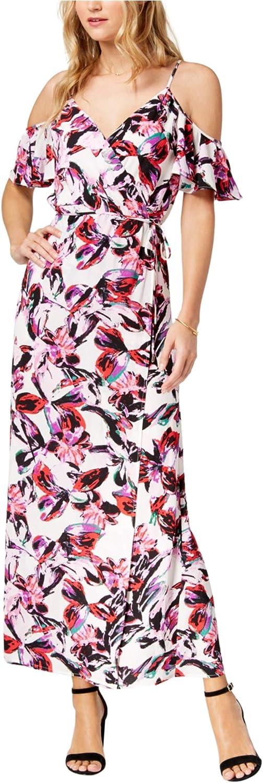Bar III Womens Printed Cold Shoulder Maxi Dress